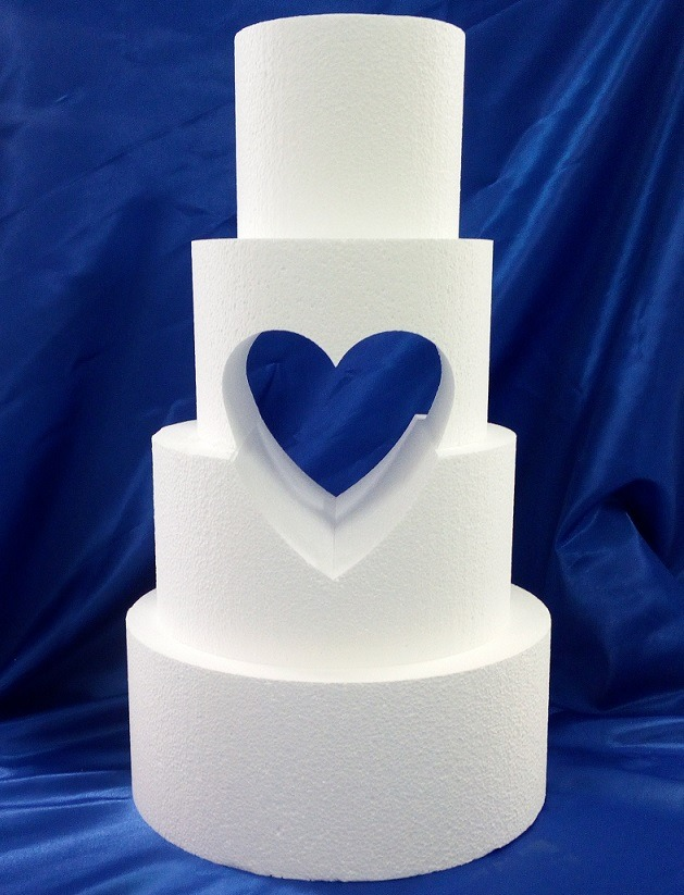 Heart Cut Outs Hole Cut Tiered Cake Dummies Wedding Cakes - Wedding Cake Dummy