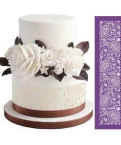 decorated mesh stencil cake